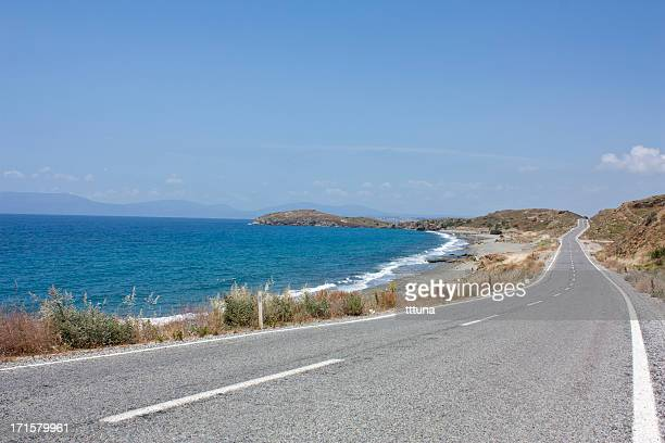seaside and road, tourism travel destination