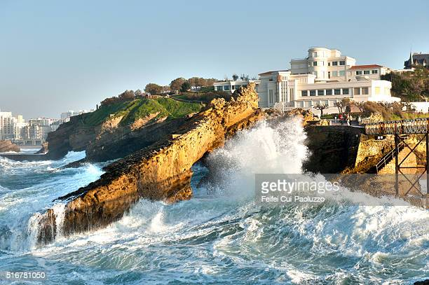 seaside and rock at biarritz in the pyrénées-atlantiques department of southwest france - ピレネーアトランティーク ストックフォトと画像
