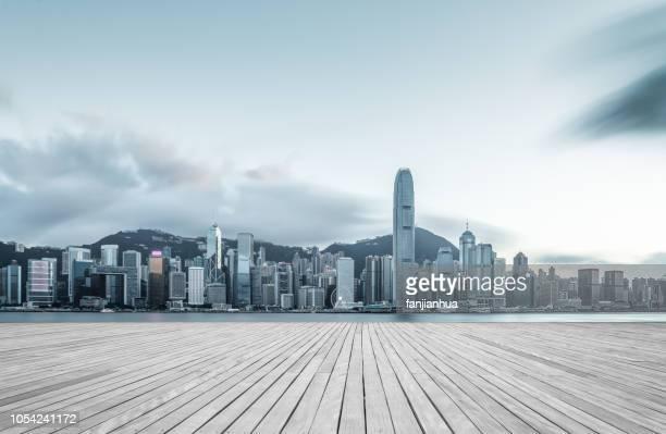 seaside boardwalk,victoria harbor,hong kong - victoria harbour hong kong stock pictures, royalty-free photos & images