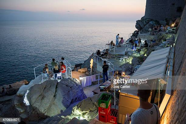 Seaside cafe outside Dubrovnik's city walls