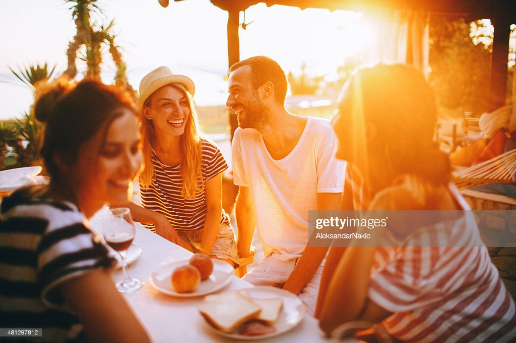 Seaside dinner party : Stock Photo