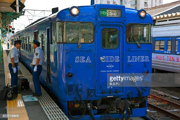Seaside Liner Train and Drivers in Saga Prefecture in Kyushu, Japan