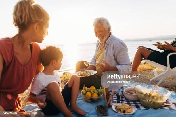 Seaside picnic with family