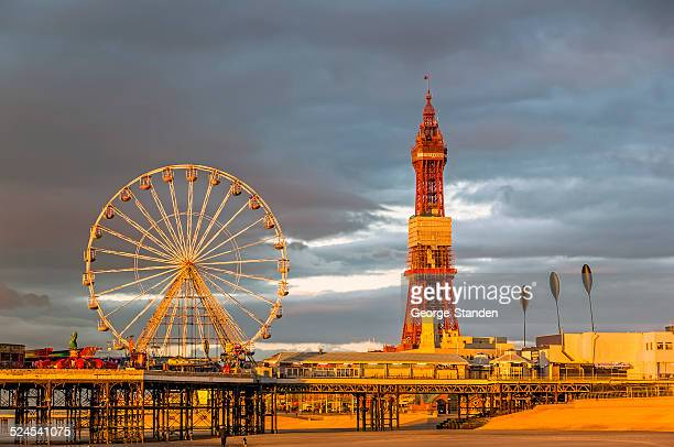 seaside pier blackpool - blackpool stock pictures, royalty-free photos & images