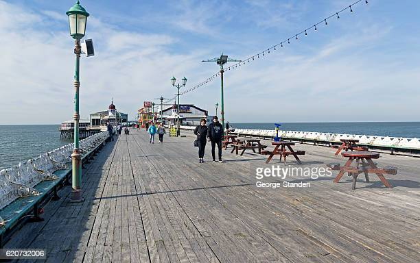 seaside pier, blackpool - blackpool stock pictures, royalty-free photos & images