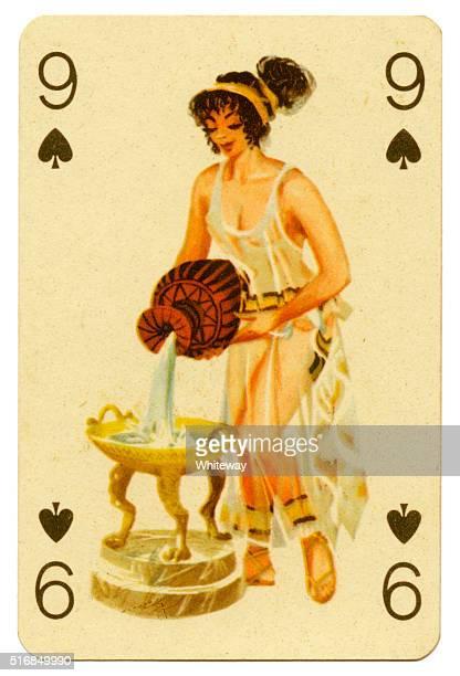 Seaside pin-up Romikartya 4 vintage playing card Hungary 1950s