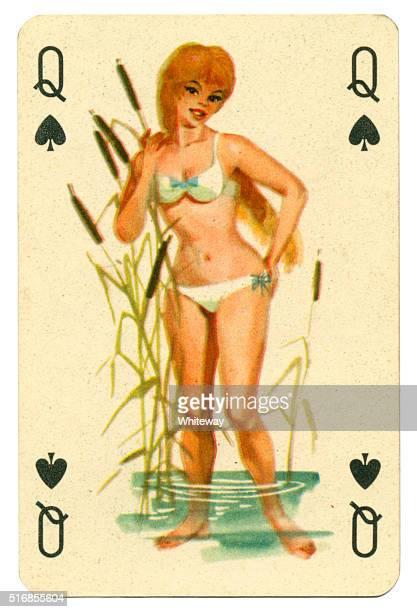 Am Meer reizend Romikartya 4 vintage-Spielkarte Ungarn 1950 er