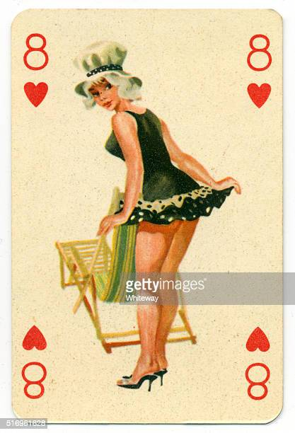 Seaside pin-up Romikartya 4 vintage playing card Hungary 1950s