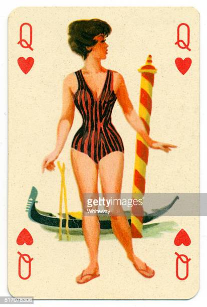 seaside pin-up romikartya 4 vintage playing card hungary 1950s - hearts playing card stock photos and pictures