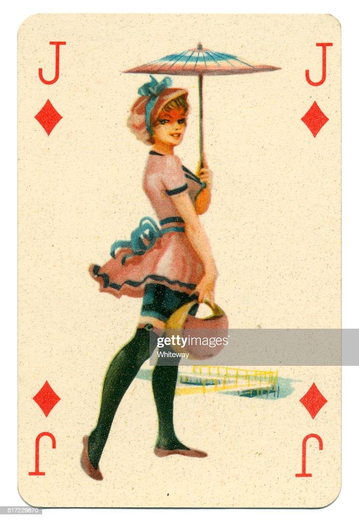 Seaside pin-up Romikartya 4 vintage playing card Hungary 1950s : Stock Photo