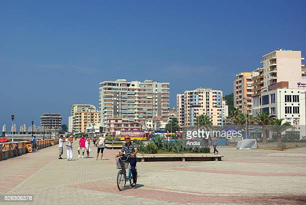 Seaside resort modern buildings and esplanade along the waterfront in Durres major port of the Mediterranean Sea in Albania