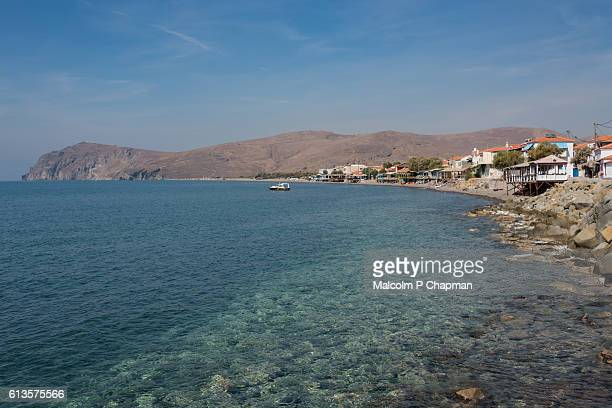 Seaside resort of Skala Eresos (Skala Eresou), Lesvos. Eressos is the birthplace of the poet Sappho