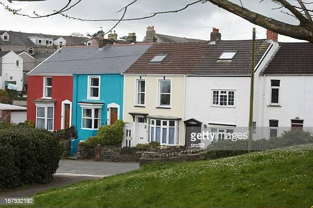 seaside terraced houses - mumbles stock photos and pictures