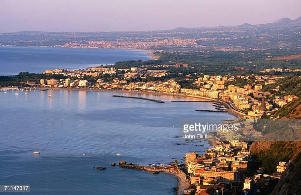 seaside town from above, giardini-naxos, italy - giardini naxos stock pictures, royalty-free photos & images