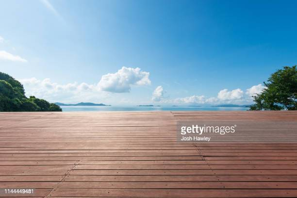 seaside wooden parking lot - woodland stock pictures, royalty-free photos & images