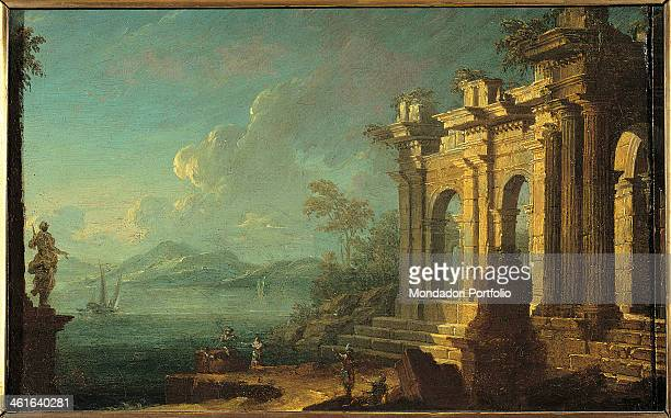 Seasight with Classical Arch by Unknown Artist from Veneto 18th Century oil on canvas Italy Lombardy Milan Castello Sforzesco Civic Collections of...