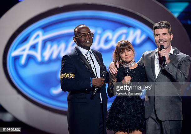 Season 1 judges Randy Jackson Paula Abdul and Simon Cowell speak onstage during FOX's 'American Idol' Finale For The Farewell Season at Dolby Theatre...