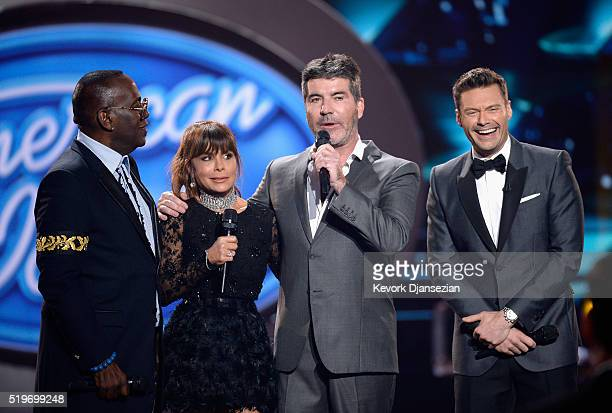 Season 1 judges Randy Jackson Paula Abdul Simon Cowell and host Ryan Seacrest speak onstage during FOX's 'American Idol' Finale For The Farewell...
