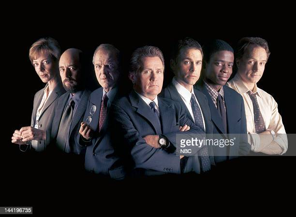 Season 1 -- Pictured: Allison Janney as Claudia Jean 'C.J.' Cregg, Richard Schiff as Toby Ziegler, John Spencer as Leo McGarry, Martin Sheen as...
