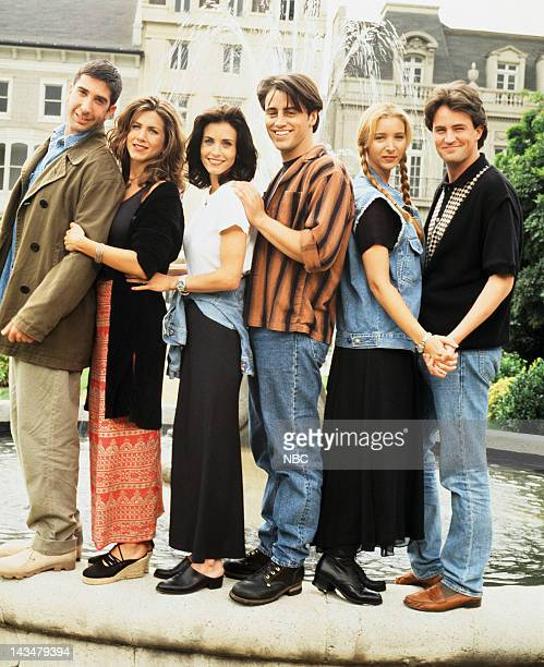 Season 1 -- Pictured: David Schwimmer as Ross Geller, Jennifer Aniston as Rachel Green, Courteney Cox as Monica Geller, Matt LeBlanc as Joey...