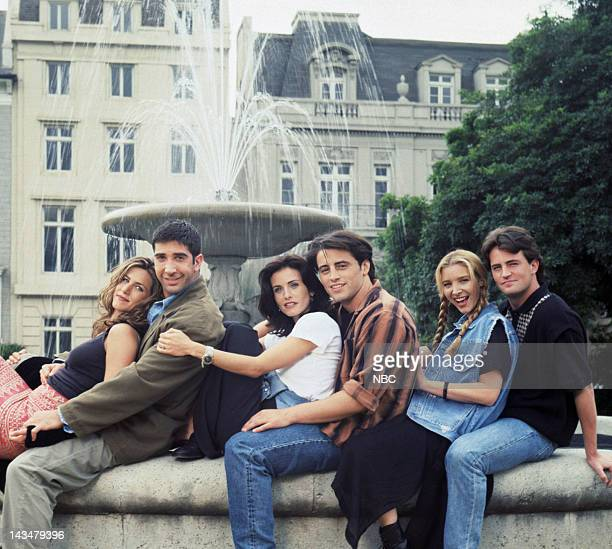 Season 1 -- Pictured: Jennifer Aniston as Rachel Green, David Schwimmer as Ross Geller, Courteney Cox as Monica Geller, Matt LeBlanc as Joey...
