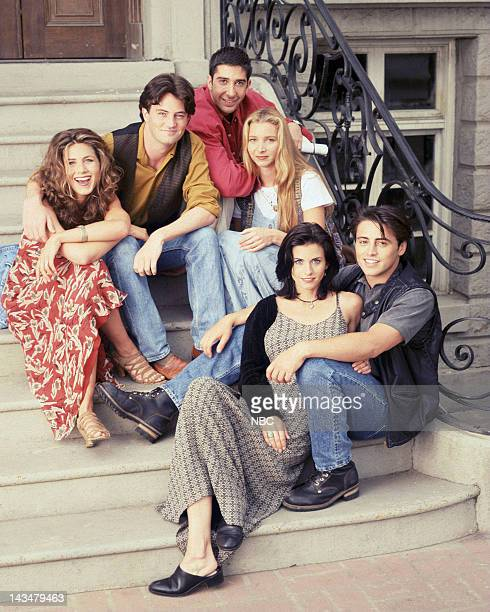 Season 1 -- Pictured: Jennifer Aniston as Rachel Green, Matthew Perry as Chandler Bing, David Schwimmer as Ross Geller, Lisa Kudrow as Phoebe Buffay,...