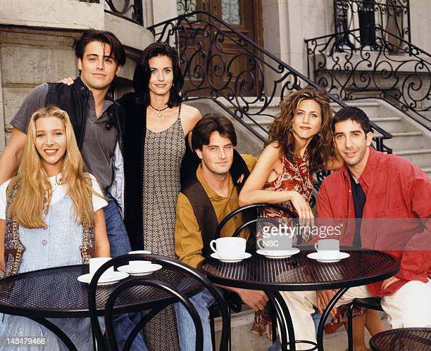 Season 1 -- Pictured: Lisa Kudrow as Phoebe Buffay, Matt LeBlanc as Joey Tribbiani, Courteney Cox as Monica Geller, Matthew Perry as Chandler Bing,...