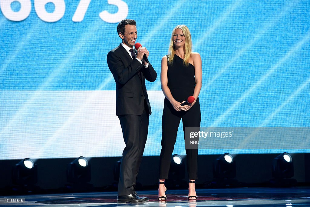 Seth Meyers and Gwyneth Paltrow onstage at NBC's 'Red Nose Day' Charity Event at the Hammerstein Ballroom in New York, NY on May 21, 2015 --