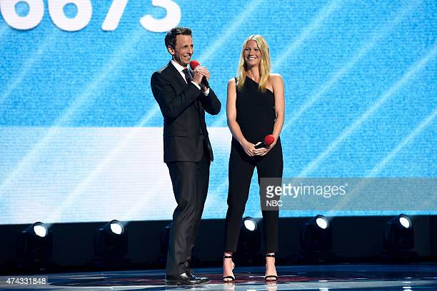 1 Pictured Seth Meyers and Gwyneth Paltrow onstage at NBC's 'Red Nose Day' Charity Event at the Hammerstein Ballroom in New York NY on May 21 2015