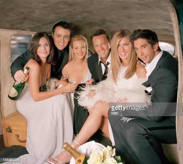 Season 10 -- Pictured: Courteney Cox as Monica Geller, Matt LeBlanc as Joey Tribbiani, Lisa Kudrow as Phoebe Buffay, Matthew Perry as Chandler Bing,...