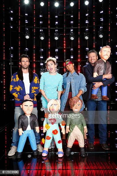 THE VOICE 'Season 11 Press Junket' Pictured Adam Levine Miley Cyrus Alicia Keys Blake Shelton