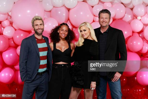 THE VOICE 'Season 12 Press Junket' Pictured Adam Levine Alicia Keys Gwen Stefani Blake Shelton The Voice coaches Feel the Love as they prepare for...