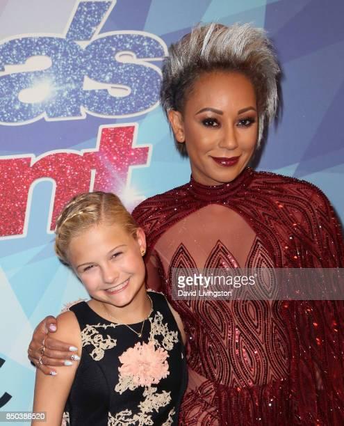 Season 12 winner ventriloquist Darci Lynne Farmer and singer/TV personality Mel B attend NBC's America's Got Talent season 12 finale at Dolby Theatre...