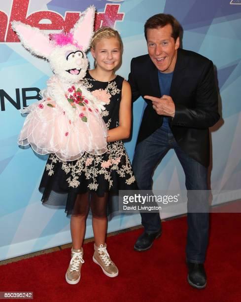 Season 12 winner ventriloquist Darci Lynne Farmer and ventriloquist Jeff Dunham attend NBC's America's Got Talent season 12 finale at Dolby Theatre...