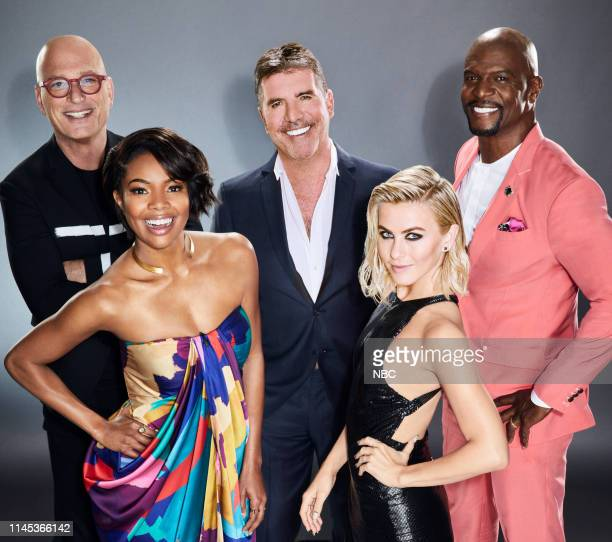 Season: 14 -- Pictured: Howie Mandel, Gabrielle Union, Simon Cowell, Julianne Hough, and Terry Crews --