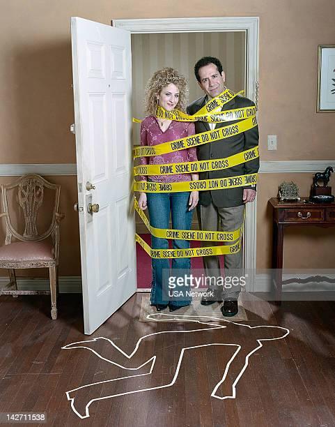 Season 2 -- Pictured: Bitty Schram as Sharona Fleming, Tony Shalhoub as Adrian Monk --