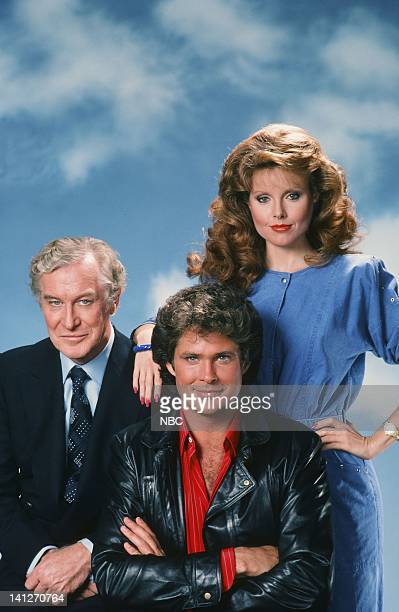 Season 2 -- Pictured: Edward Mulhare as Devon Miles, David Hasselhoff as Michael Knight, Rebecca Holden as April Curtis -- Photo by: Herb Ball/NBCU...