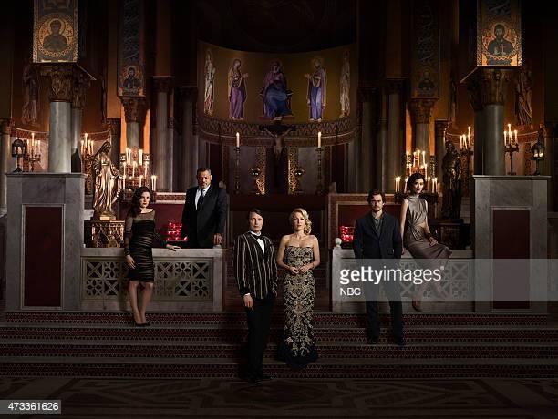 3 Pictured Caroline Dhavernas as Alana Bloom Laurence Fishburne as Jack Crawford Mads Mikkelsen as Hannibal Lecter Gillian Anderson as Bedelia Du...
