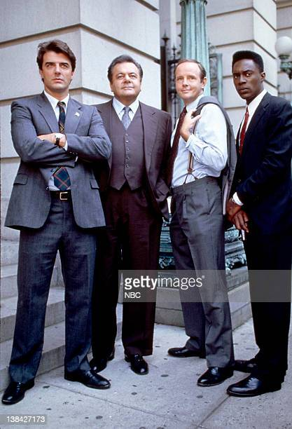 """Season 3 -- Pictured: Chris Noth as Detective Mike Logan, Michael Moriarty as Executive A.D.A. Ben Stone, Paul Sorvino as Det. Sgt. Phillip """"Phil""""..."""