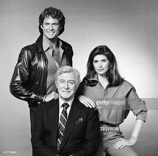 Season 3 -- Pictured: David Hasselhoff as Michael Knight, Edward Mulhare as Devon Miles, Patricia McPherson as Bonnie Barstow -- Photo by: Gary...