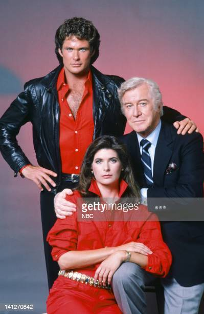 Season 3 -- Pictured: David Hasselhoff as Michael Knight, Patricia McPherson as Bonnie Barstow, Edward Mulhare as Devon Miles -- Photo by: Gary...
