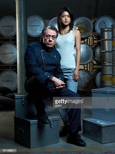 Season 3 -- Pictured: Edward James Olmos as Admiral William Adama, Grace Park as Number Eight --