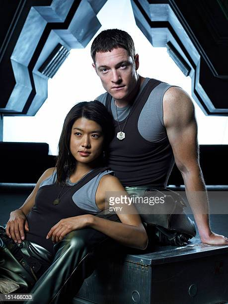 Season 3 -- Pictured: Grace Park as Number Eight, Tahmoh Penikett as Captain Karl 'Helo' Agathon --