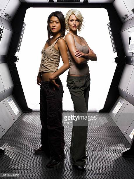 Season 3 -- Pictured: Grace Park as Number Eight, Tricia Helfer as Number Six --