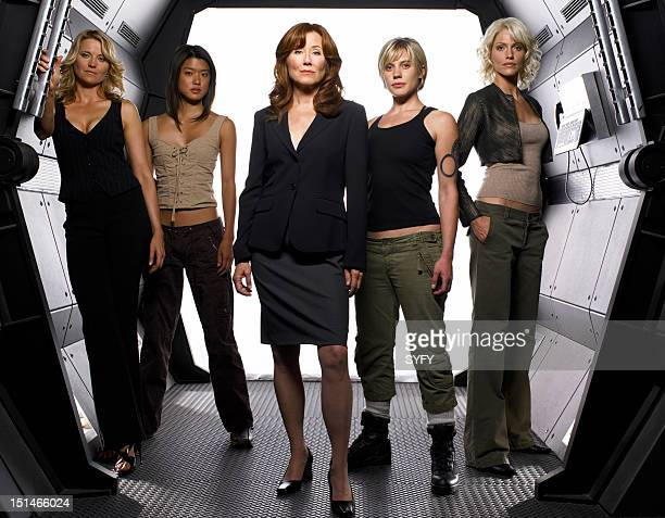 Season 3 -- Pictured: Lucy Lawless as Number Three, Grace Park as Number Eight, Mary McDonnell as President Laura Roslin, Katee Sackhoff as Lt. Kara...