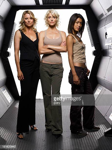 Season 3 -- Pictured: Lucy Lawless as Number Three, Tricia Helfer as Number Six, Grace Park as Number Eight --