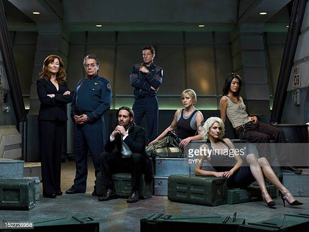 Season 3 -- Pictured: Mary McDonnell as President Laura Roslin, Edward James Olmos as Admiral William Adama, James Callis as Dr. Gaius Baltar, Jamie...