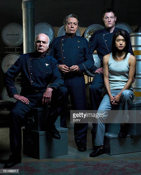 "Season 3 -- Pictured: Michael Hogan as Colonel Saul Tigh, Edward James Olmos as Admiral William Adama, Tahmoh Penikett as Captain Karl ""Helo""..."