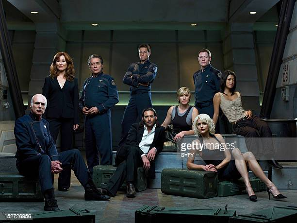 Season 3 -- Pictured: Michael Hogan as Colonel Saul Tigh, Mary McDonnell as President Laura Roslin, Edward James Olmos as Admiral William Adama,...