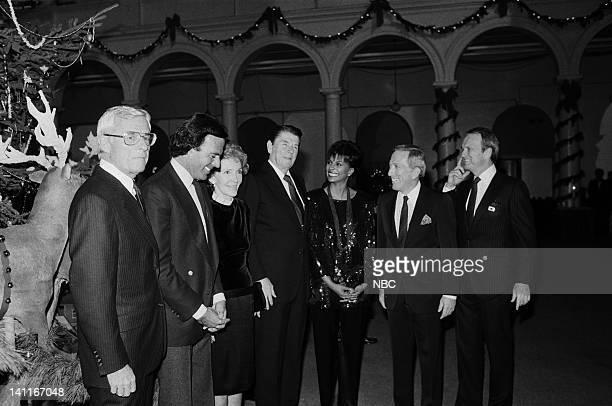 WASHINGTON 1983 Season 3 Pictured NBC CEO Grant Tinker Julio Iglesias First Lady Nancy Reagan President Ronald Reagan Leslie Uggams Andy Williams...